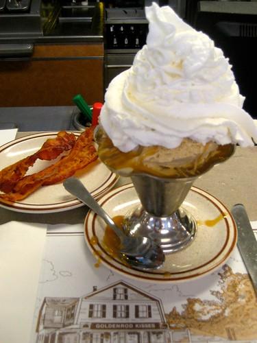 Penuche Sundae and Bacon for breakfast!