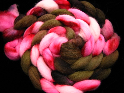 Choco Cherry Love - Hand Painted Spinning Fiber Corriedale Top Roving