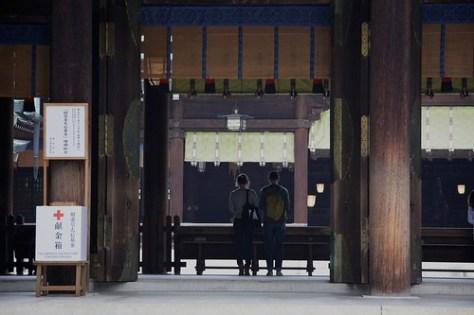 Praying at Meiji Shrine