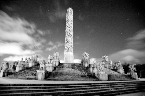 Vigeland Park by night, Oslo, Norway