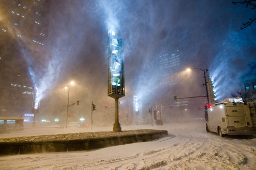 Illuminating the snow, not the Wrigley Building