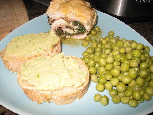 Chicken Saltimbocca, White Bean & Garlic Scape Dip, PEAS