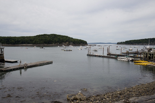 Bar Harbor with the tide out - from the pedestrian's walkway.