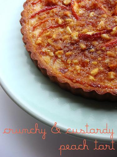 crunchy and custardy peach tart
