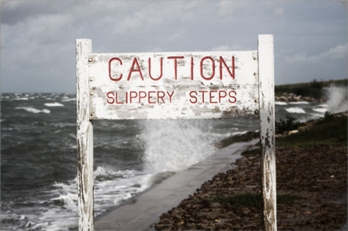 slippery when wet steps