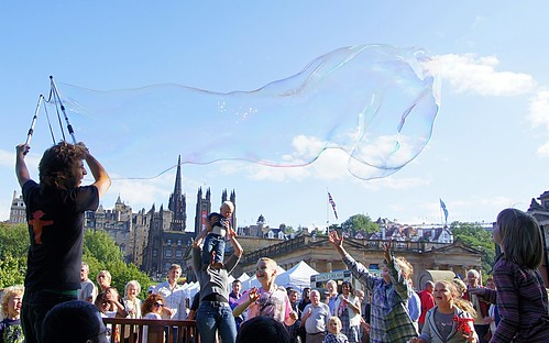 Huge soap bubbles in Princes Street Gardens