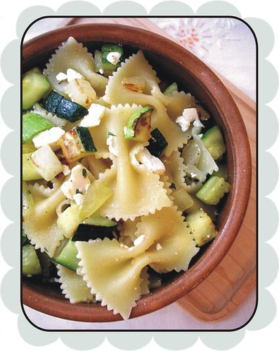 farfalle with zucchini mint and feta