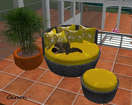 Couch Natural Fiber Black and Yellow (BOX)