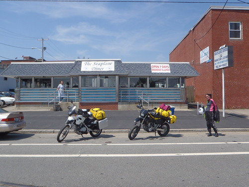 DRZ400SM and BMW F650 Dakar at the Seaplane Diner, Allen's Ave, Providence, RI