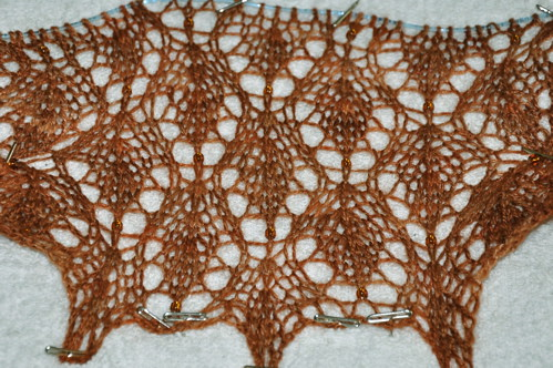 Little Leaves shawl in progress.