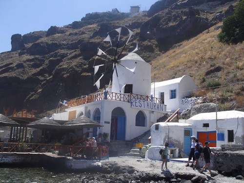 Greek windmill restaurant by Topdeck Travel