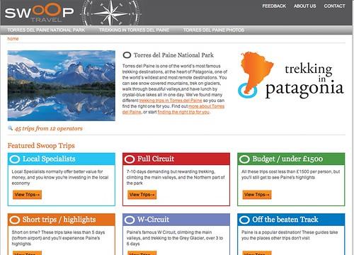 swoop travel homepage