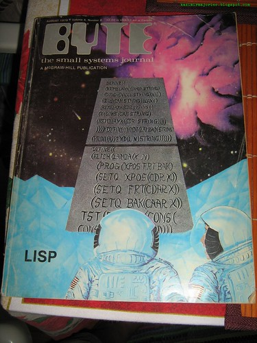 BYTE Magazine cover from August 1979, Volume 4, Number 8: Lisp code on the famous monolith of '2001: A Space Odyssey'