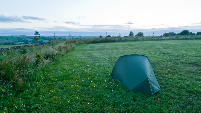 My first night's pitch at Grindon campsite