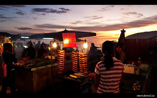 evening at the waterfront night market, kota kinabalu.