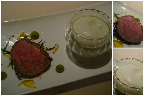 smoked duck with cauliflower mousse