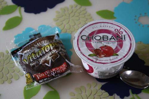 vita top triple chocolate chunk; pomegranate chobani
