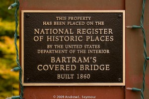 Bartram Covered Bridge – NRHP plaque