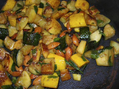 recipe for summer squash, chile, almond and mint side dish