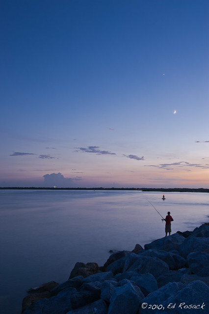 Ponce Inlet at dusk, fishing under the Moon & Venus