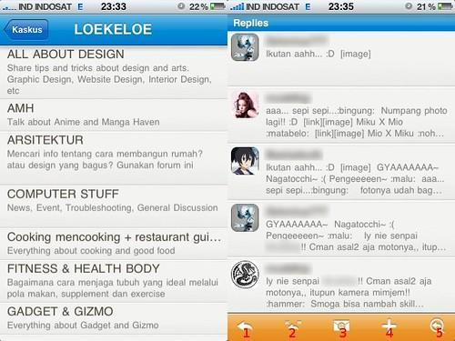 Daftar forum (kiri) dan daftar posting dalam sebuah thread (kanan)