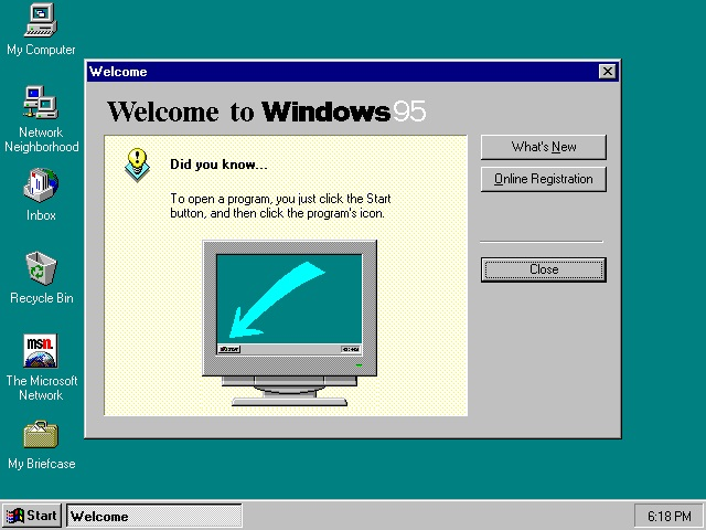 Windows 95 welcome screen