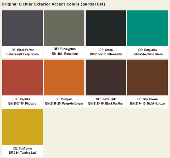 Original Eichler Colors