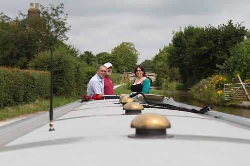 Ruth gets a driving lesson on the narrowboat