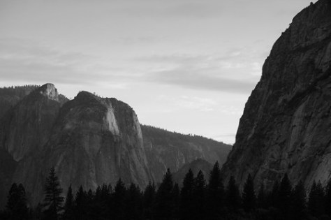 Yosemite Valley near the village (B&W)