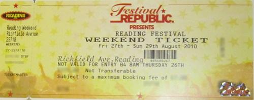 Reading Festival Weekend Ticket 2010