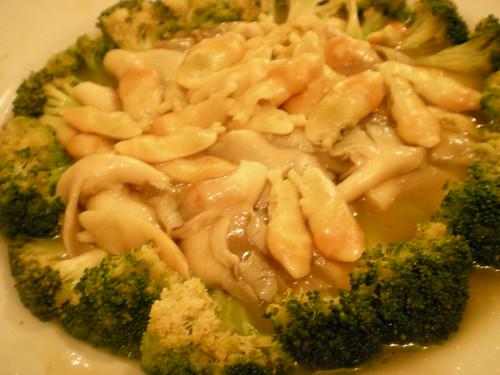 Broccoli with asparagus clams