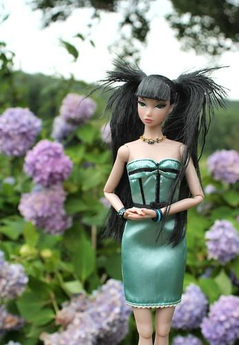 Misaki Among The Hydrangea Blooms