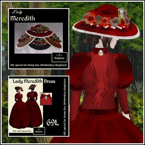Hatpins - Lady Meredith Hat and Gown - Crimson - HDH