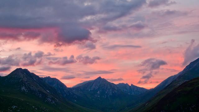 Sunset over Arran mountains