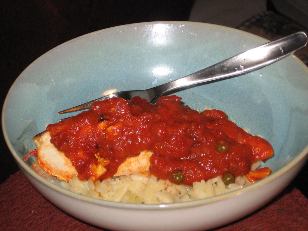 tomato caper chicken & orzo