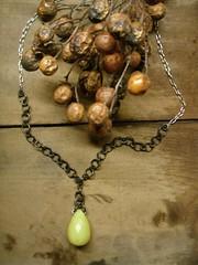 olive jade teardrop on blackened steel...95.