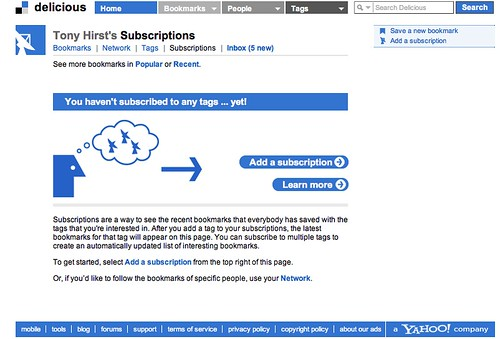 Delicious tag subscriptions