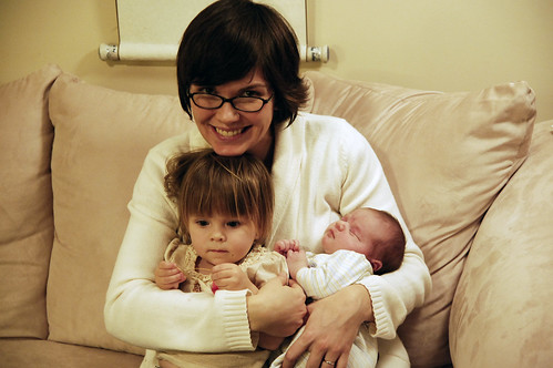 Holding Camilla and my new niece Annie.