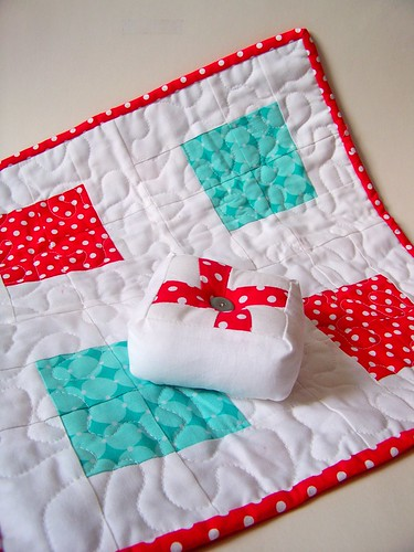 doll quilt swap 9 - red whit and aqua mini patchwork quilt