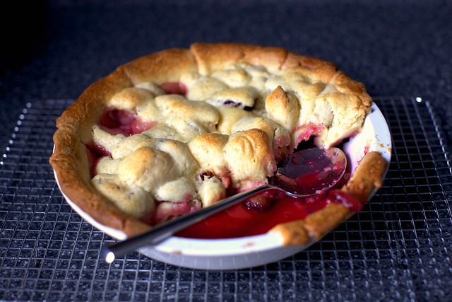cookie-lidded apple and plum pie