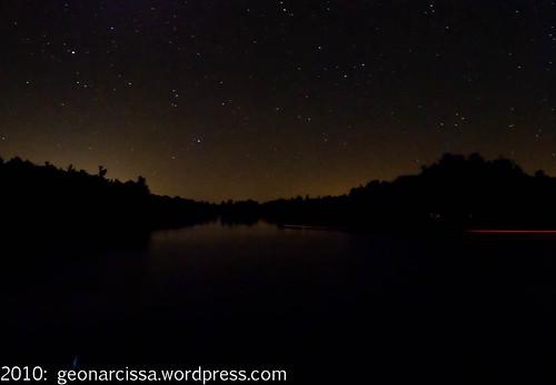 Bob's Lake night sky with boat