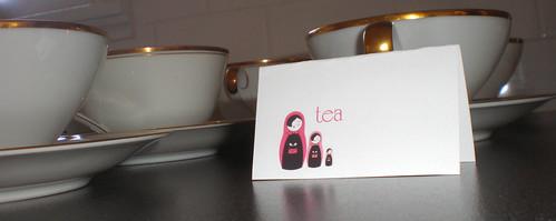 teacups and tea label