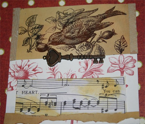 "Key to my heart 4"" x 4"" Collage Card"