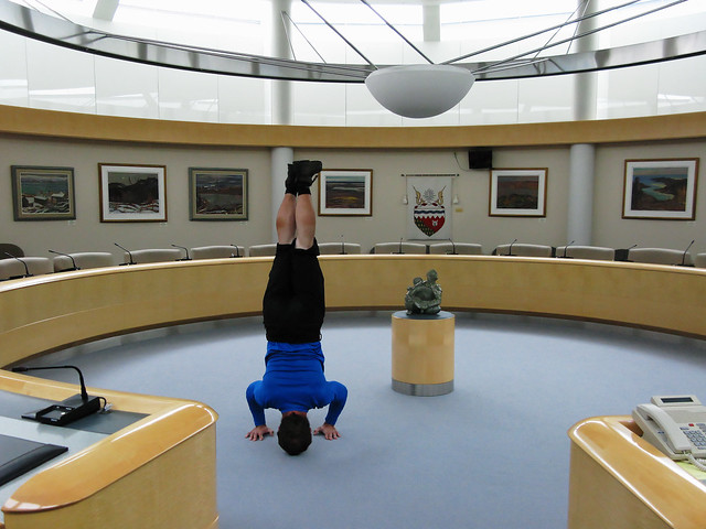 Headstand in the Caucus room