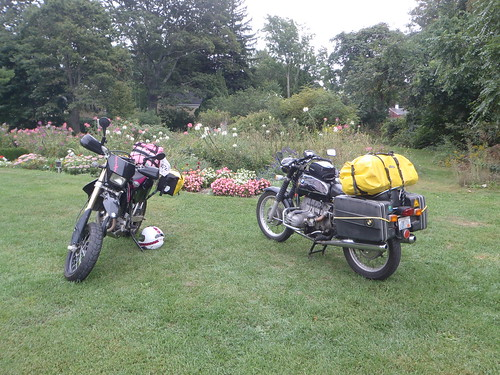 The DRZ400SM and the R75/5 at the gardens at Roseland Cottage