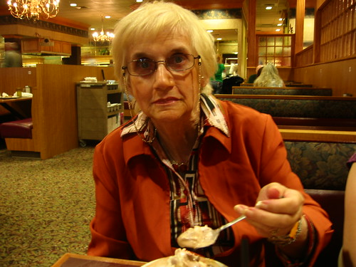 Mom nibbles at her dinner and went for ice cream