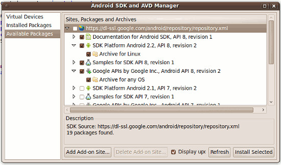 Componentes Android para Eclipse