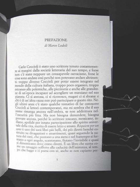 """Carlo Coccioli, Requiem per un cane, Marsilio 2010, [responsabilità grafica non indicata], p. 5: """"Prefazione, di Marco Lodoli"""" (part.), 1"""