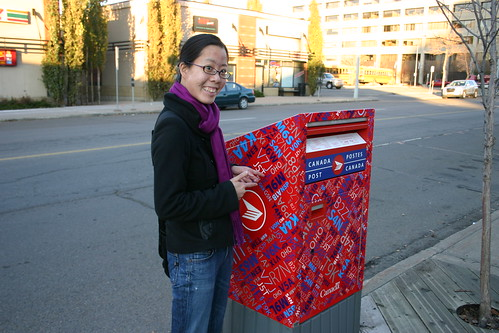 Sharon with the new mailboxes!