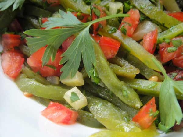Moroccan green pepper and preserved lemon salad
